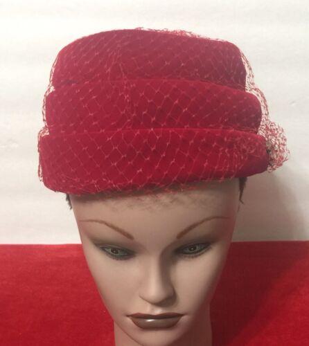 Vintage Clover Lane Red Velvet Hat 1950'S