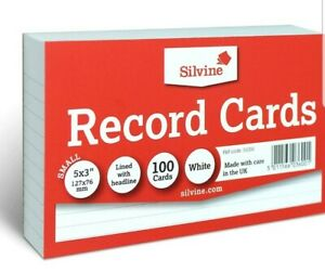 Revision-Flash-Index-Silvine-Record-Cards-White-Ruled-on-both-sides-5-034-x-3-034