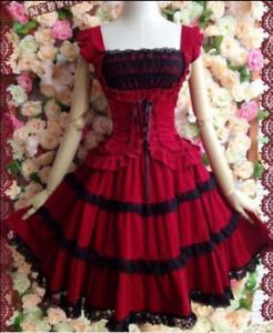 Women Lace Sweet Cosplay Dress hot Vintage Gothic Lolita Princess Dress Costume