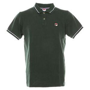 Dettagli su Polo t-shirt uomo FILA mod. 392000 polo M/C Basic cotone piquet  delavè Col.Green