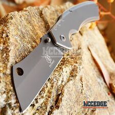 TACTICAL CAMPING HUNTING Assisted Open Pocket Folding Knife CLEAVER GREY Blade