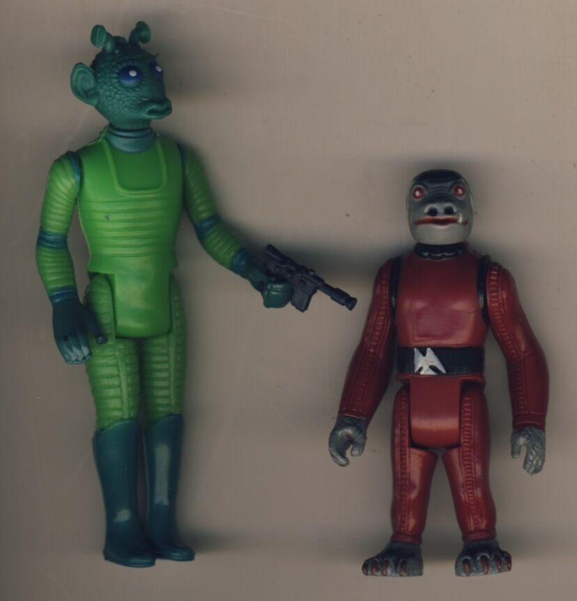Vintage Estrella Wars GREEDO -SNAGGLETOOTH Figura coppia alieni GMFGI originale 1978