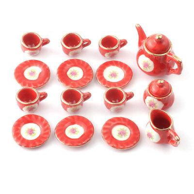 Sa Doll's House D2183 Red Tea Set 15-tlg # Porcelain 1:12 For Dollhouse New