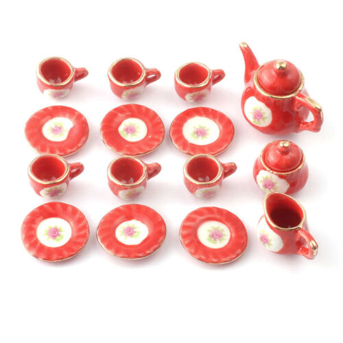 Porcelana 1:12 para Casa Muñecas Sa-Dollshouse D2183 Roja Juego de Té 15-tlg