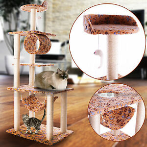 US Pet Large Cat Tree Scratching Post Climb Toys Gym Bed 147cm Cat claw printing
