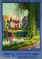 Le Chateau de Tourlaville France French European Travel Poster Advertisement