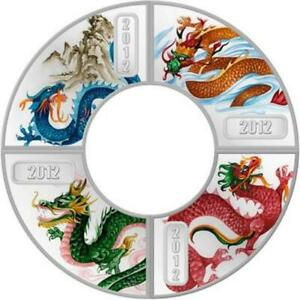 2012 Year of the Dragon 1//2 oz Silver Proof Rare coin