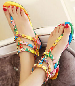 126de2e71bd4db Womens Rainbow Stud Rivet T-Strap Gladiator Flat Sandals Ladies Flat ...