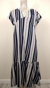 Zara-Grey-Navy-Stripe-Jersey-Dress-V-Neck-Ruffle-Hem-Size-Medium-UK-12-14