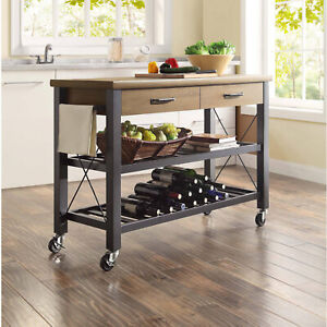 Kitchen-Cart-Island-Table-Butcher-Block-TV-Stand-Mobile-Storage-Wine-Rack-Modern