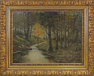 Strong-Willed 8360069 Oil Painting Stream In Deciduous Forest In Goldstuckrahmen Wide Selection; Art
