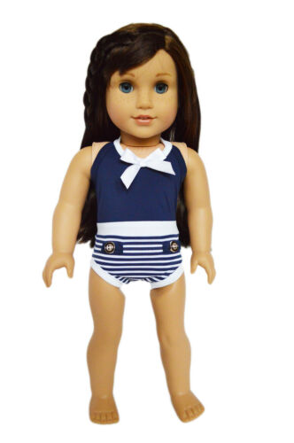 "Doll Clothes 18/"" Bathing Suit Navy White One-piece Fits American Girl Dolls"