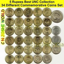Very Rare 34 Different Types of 5 Rupees Commemorative Five Rupees UNC Coin Set