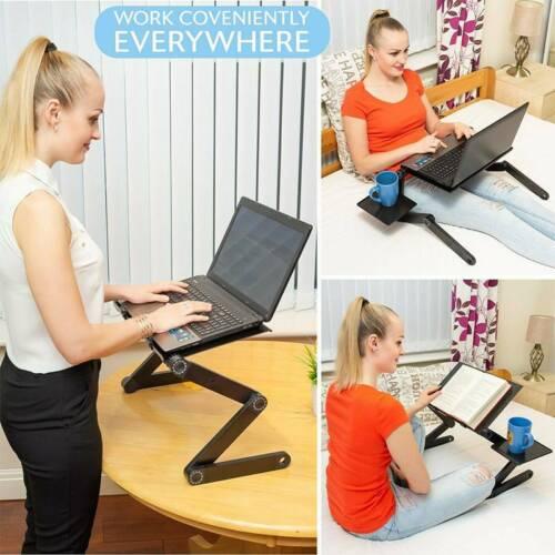 360 ° faltbarer Laptop Schreibtisch Tischständerhalter Kühlung Dual Fan Mouse PE