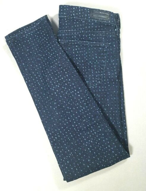 AG ADRIANO GOLDSCHMIED The Stevie Ankle Slim Straight Jeans POLKA DOT Size 27R