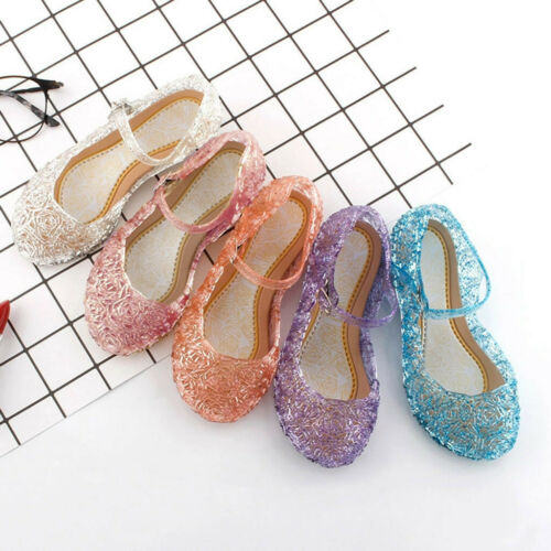 Kids Girls Crystal Jelly Sandals Princess Cosplay Party Buckle Wedge Shoes SIZE