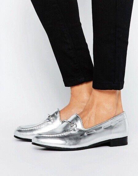 H by hudson Silber Snaffle Flach Klassisch Leder Slipper Pumps Schuhe 5 38