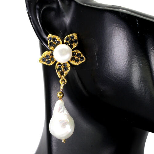 Details about  /Heated Round Blue Sapphire Pearl Gold Plate 925 Sterling Silver Flower Earrings