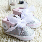 Newborn Toddler Infant Baby Girl Gray Bow Soft sole Crib shoes Size 0-18 Month