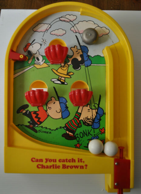 CAN YOU CATCH IT, CHARLIE BROWN? Peanuts Pinball/Baseball GAME 1980s -rj