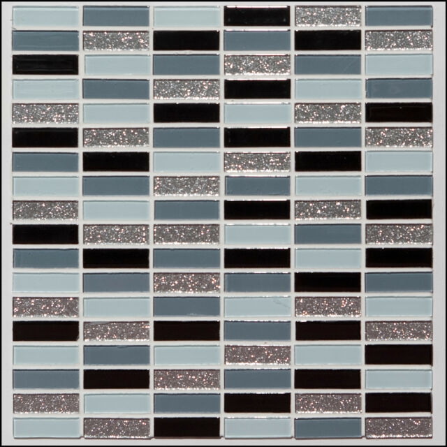 Glass Mosaic Wall Tiles Oblong Brick Mix-Kitchen or Bathroom-Various Pack Sizes