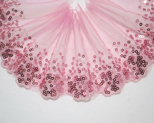 "3.5""* 1yard Sequins Pink Tulle Lace Trim Sewing /Craft"