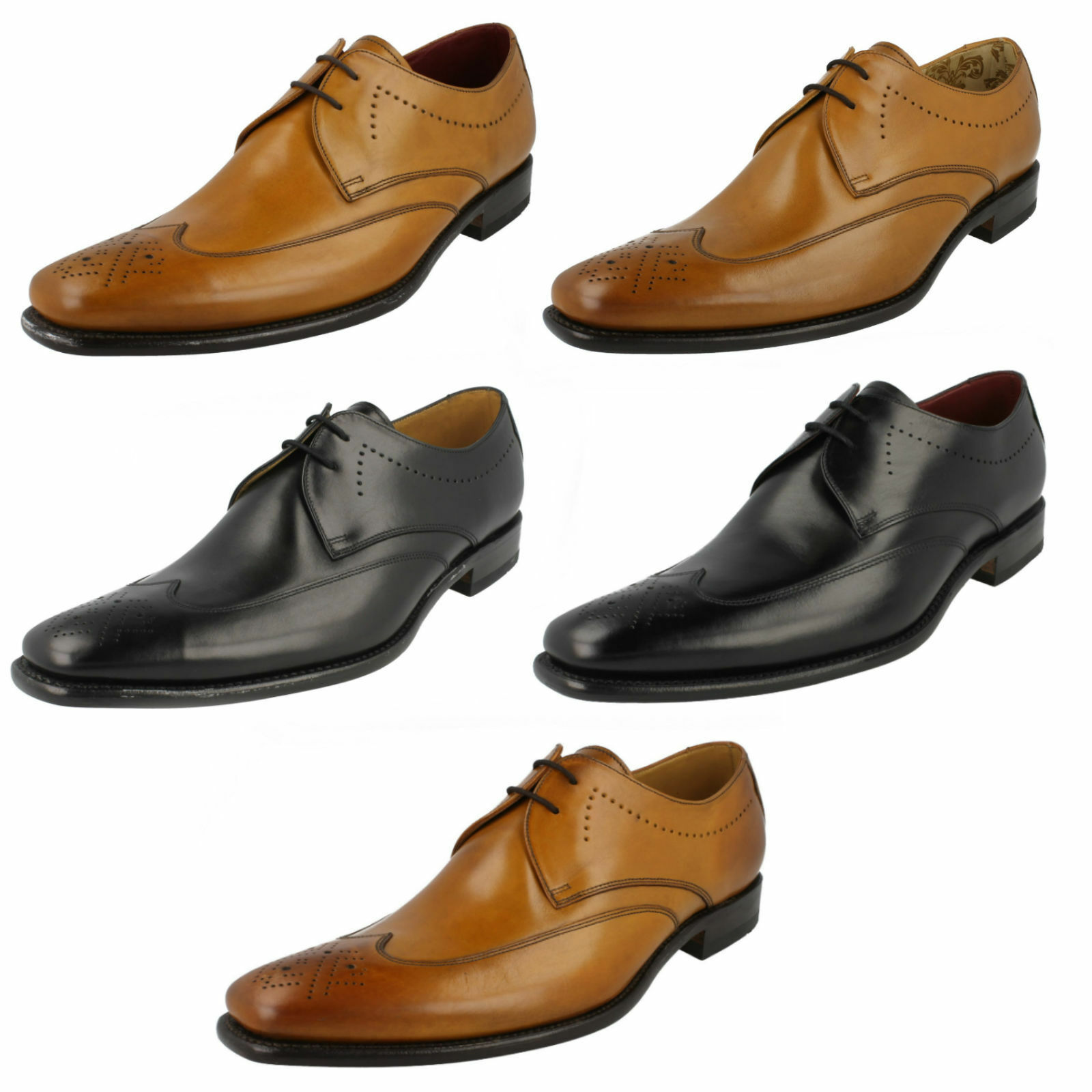MENS LOAKE STITCH SMART WEDDING FORMAL LACE UP LEATHER SEMI BROGUE schuhe Größe