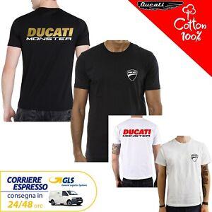 T-Shirt-Ducati-Monster-uomo-Maglia-moto-nera-cotone-100-maglietta
