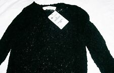 Zara Knit Sweater with Ribbed Sides black lace jumper Size M brand new tags BNWT