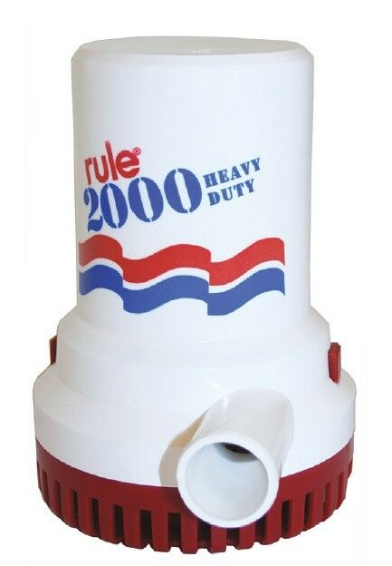 Rule Submersible Electric Bilge Bait Pump 2000 GPH 12V Boat Marine