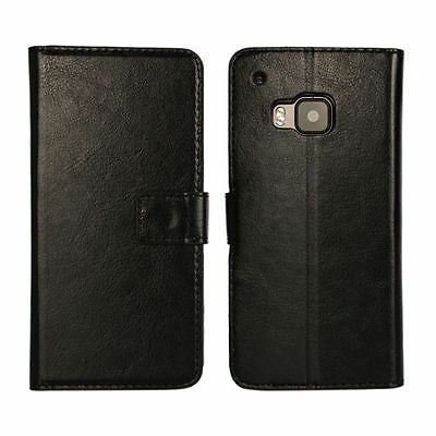 Black Luxury Flip PU Leather Wallet Case Hard Cover Credit Card Slot Flip Stand
