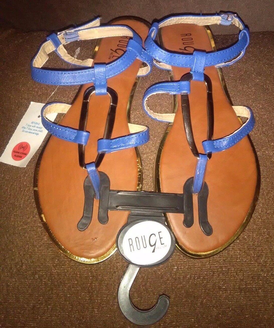 New Rouge Helium Size Blue T-Strap Sandals U.S. Size Helium 7 1/2 b67b64