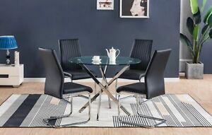 Nova Chrome Round Glass Dining Table And 4 Black White