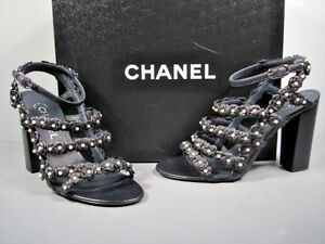 Image is loading Chanel-Dark-Navy-Lambskin-Strappy-Camellia-Pearls-Sandals-