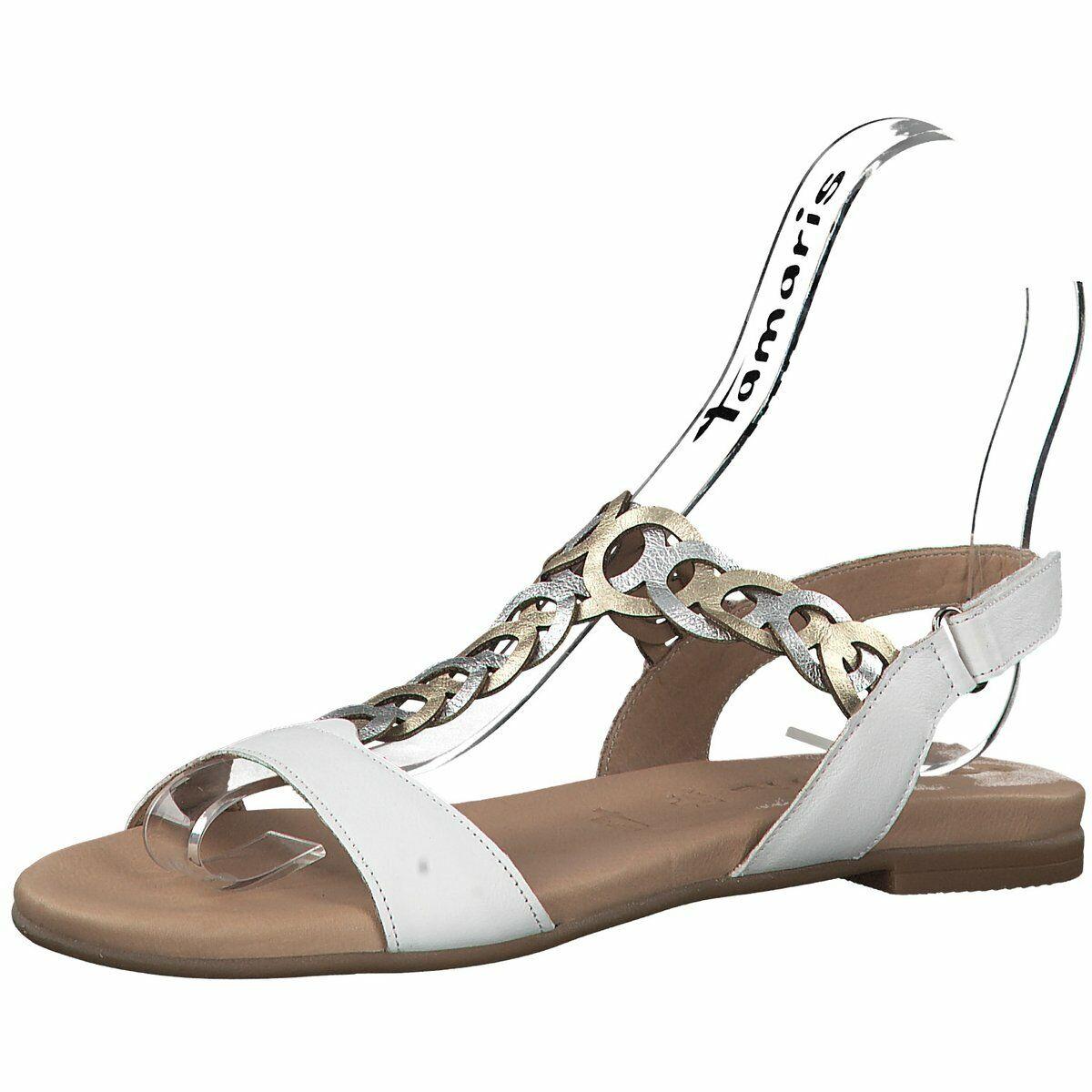 Tamaris Damen Sandaletten Flache Sandalette in Weiß 28127-197 weiß 604411