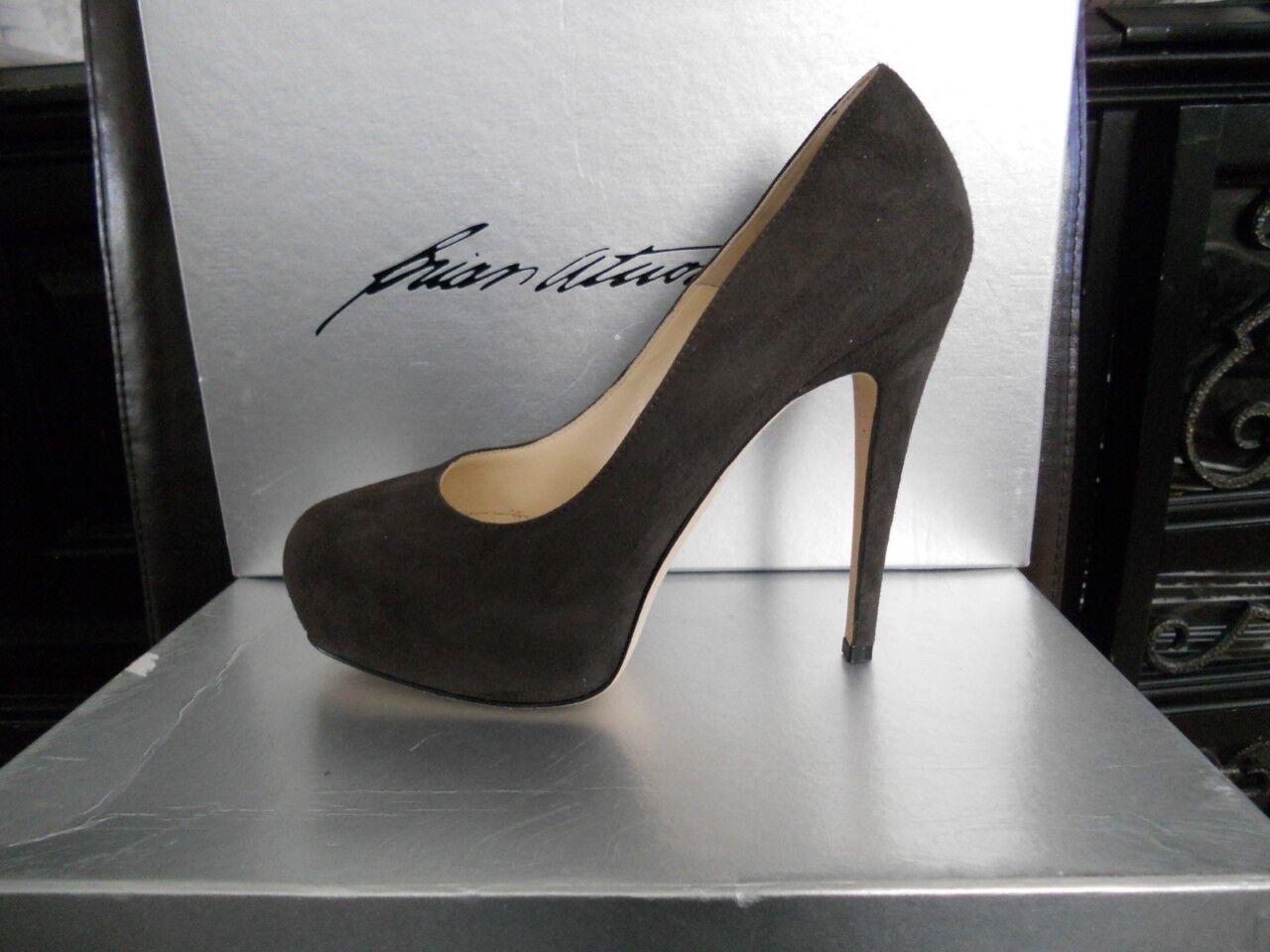 Brian Atwood MANIAC Suede Platform High Heel Pumps Shoes Africa Dark Grigio Sz 36