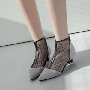 8891315c37e New Lady Womens Low Heels Suede Ankle Boots Mesh Pull on Zipper ...