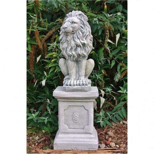 Steinfigur Löwe mit Sockel Löwenfigur Tierfigur Gartendeko Steinguss frostfest 9
