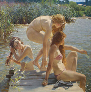 ZOPT652-three-beautiful-girls-bath-in-river-hand-paint-art-OIL-PAINTING-CANVAS