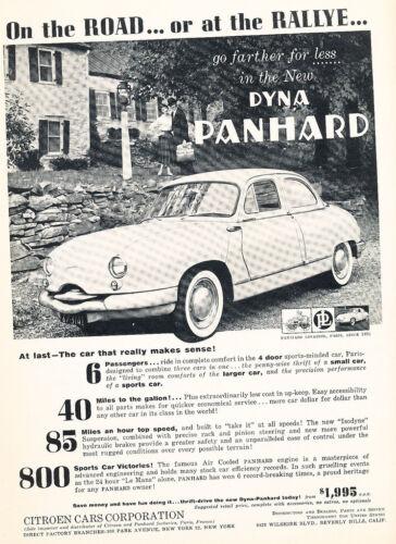 Original Car Advertisement Print Ad J162 1958 Dyna Panhard