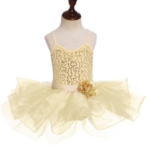 Ballerina Costume for Kid Girl Sequin Dance Gymnastic Ballet Leotard Tutu Dress