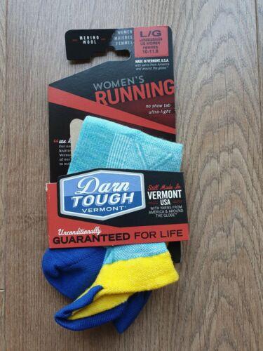Darn Tough Women/'s Vertex No Show Running Socks Blue Size Large UK 7.5-9