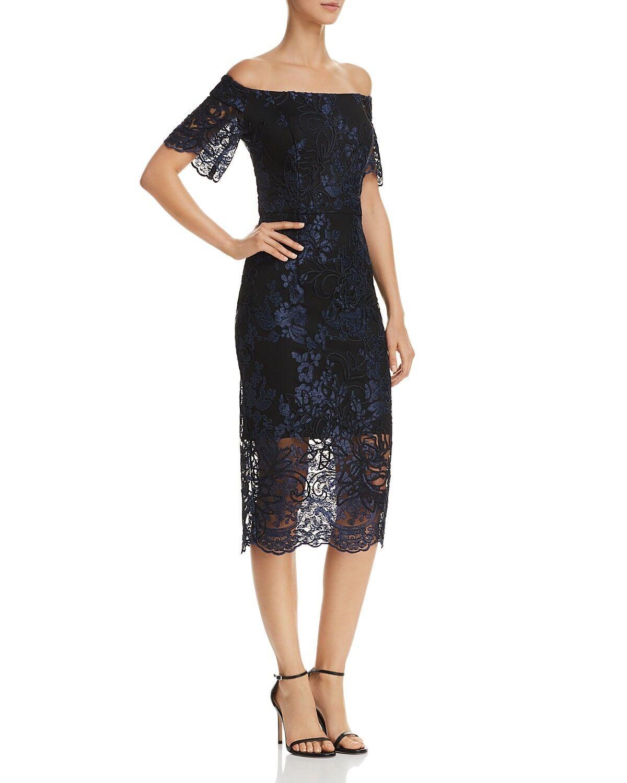 AQUA damen Blau FLORAL LACE MIDI FLOUNCE HEM EMBROIDErot GOWN DRESS Größe 4