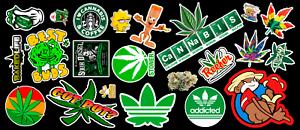 Weed-Marijuana-Cannabis-Contour-Cut-Vinyl-Sticker-Bundle
