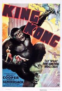 VINTAGE 1933 KING KONG MOVIE POSTER A4 PRINT