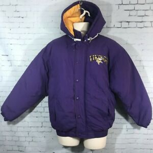the latest 16382 6329f Details about Vintage Minnesota Vikings Starter Coat Mens Small Hood Jacket  90s Embroidered