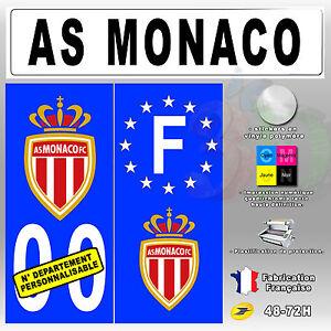 stickers plaque d 39 immatriculation logo as monaco 4 pi ces port offert ebay. Black Bedroom Furniture Sets. Home Design Ideas