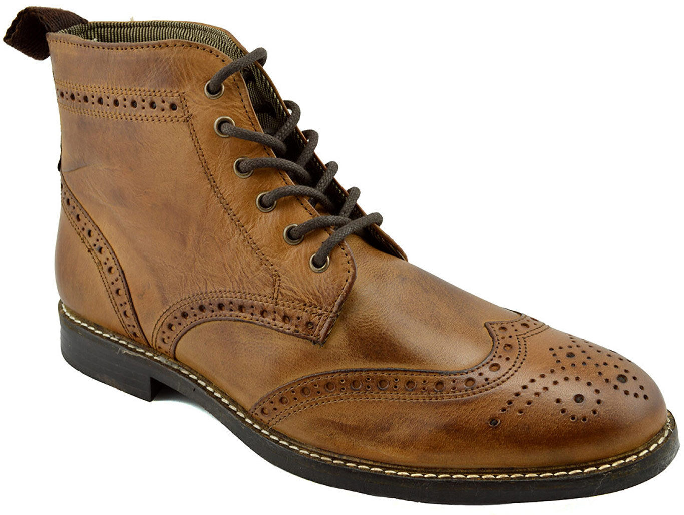 177767ab350580 Details about $215 RED Tape Brown Leather GLAVEN Brogue Ankle Boots Men  Shoes NEW COLLECTION