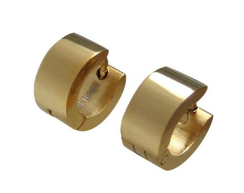 Edelstahl XS Ohrringe klapp Creolen 10mmØ Helix gold glänzend Ohrhänger unisex