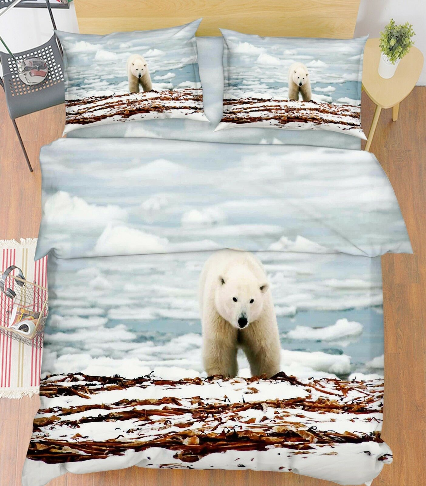 3D Ice Polar Bear 982 Bed Pillowcases Quilt Duvet Cover Set Single Queen King CA